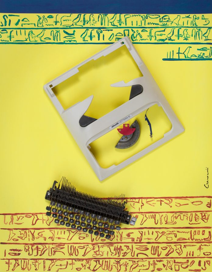 GIAN PAOLO CREMONESINI, Scrive ancora…, cm 90 x 70, tecnica mista su compensato con macchina da scrivere Olivetti lettera 22, 2019