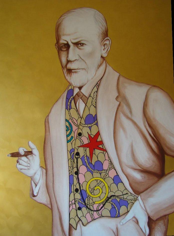 Piergiorgio Baroldi, Sigmund Freud- Presenza, cm 120 x 100, acrilico su tela, 2019