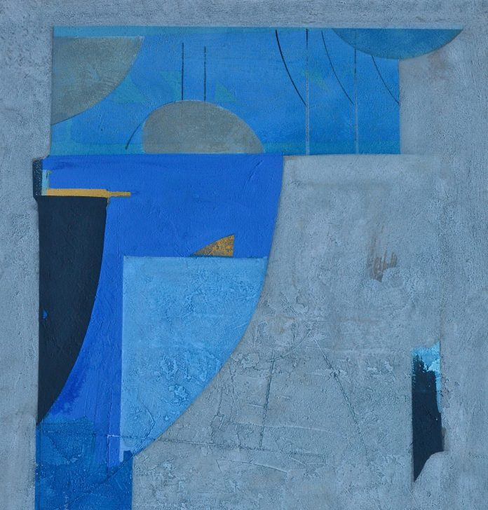 NILO CABAI, Cariatide azzurra, cm 90 x 70, tecnica mista su tela, 2005
