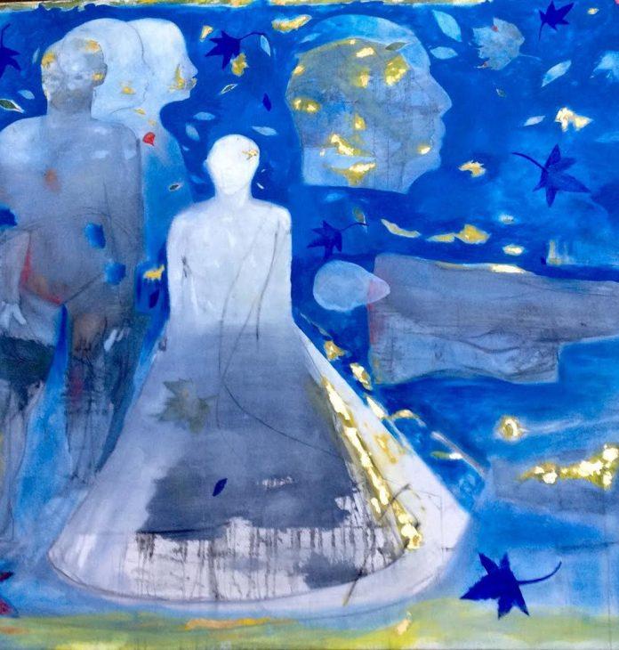 GIANCARLO SAVINO, Sussurri sul confine (particolare), cm 168 x 200, olio, grafite e oro su tela, 2018
