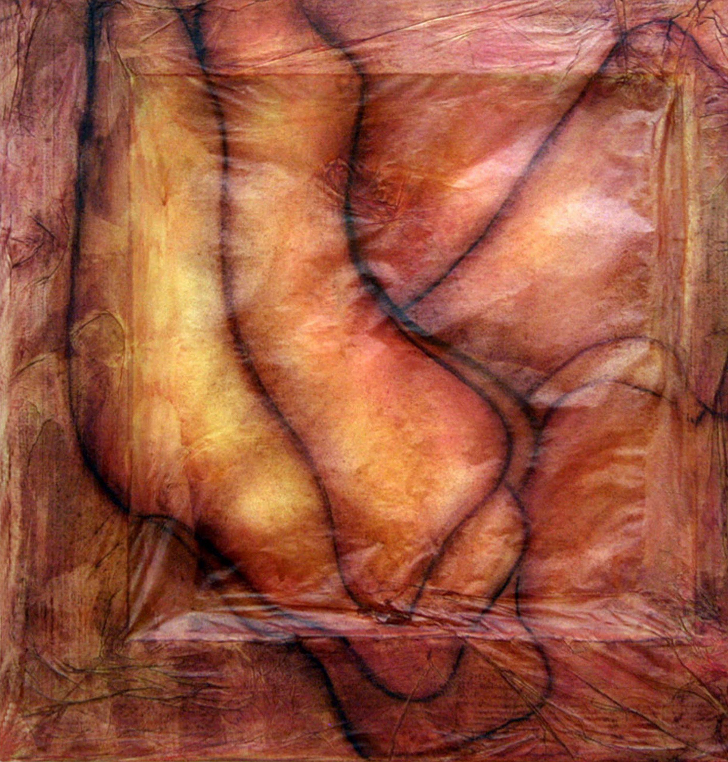 BENEDETTA JANDOLO, Matricale rossa, cm 30 x 30, gessi su carta fatta a mano, 2014