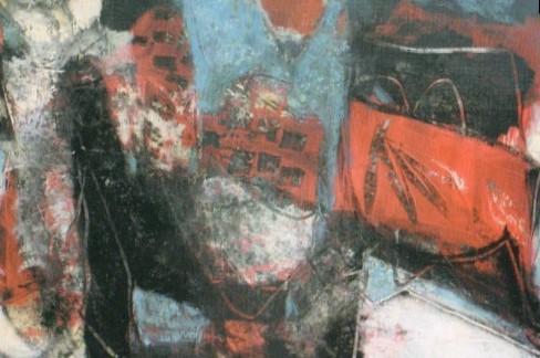 PIETRO DE CAMPO, Corrida, cm 98 x 138, tecnica mista su tavola, 2003