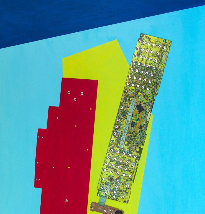 GIAN PAOLO CREMONESINI, Tastiera multifunzione, cm 80 x 60, opera con scheda, parte metallica, tasti multifunzione