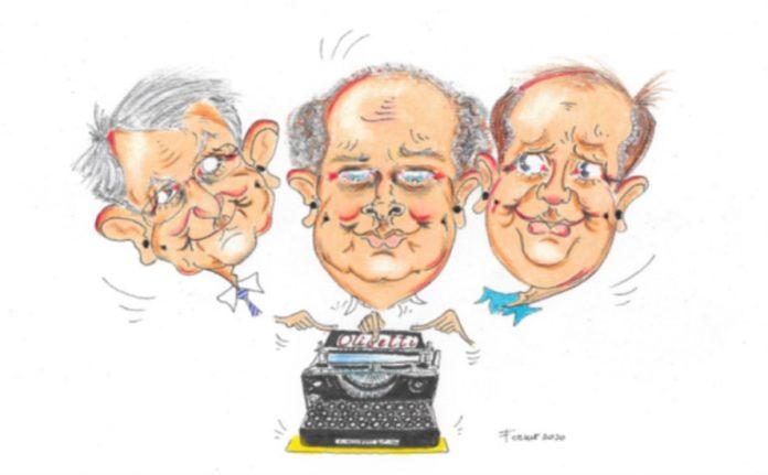 LORELLA FERMO, Alessandro Cabianca, Adriano Olivetti, Enrico Grandesso, cm 21x29,7, tecnica mista su carta, 2020