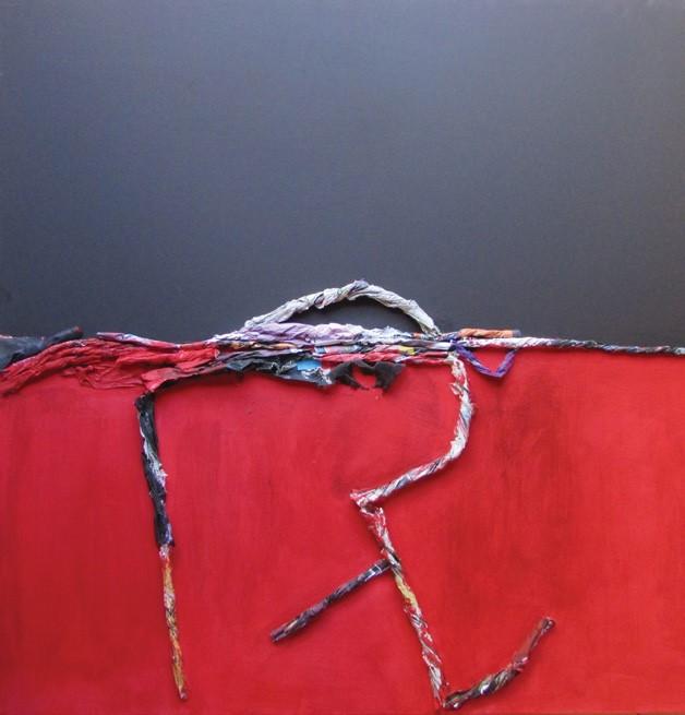 GIOVANNI LETO, Il deserto dei Tartari (Ritmi e attese), cm 100 x 100, carta e acrilici su tela, 2018