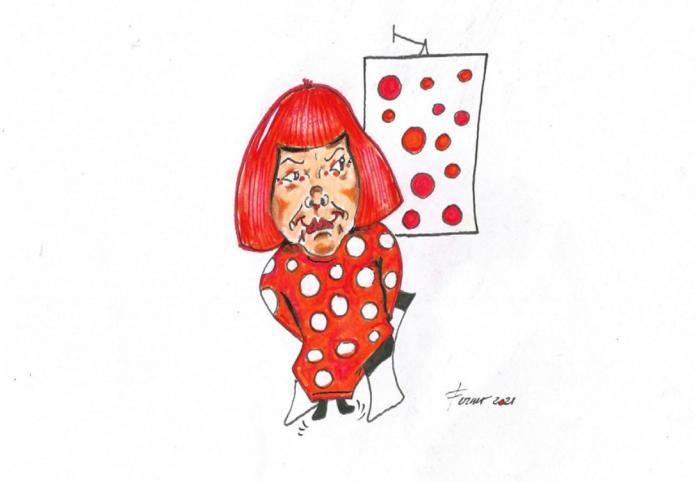 LORELLA FERMO, Yayoi Kusama, cm 21 x 29, tecnica mista su carta, 2021