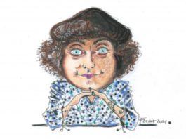 LORELLA FERMO, Valentine de Saint-Point, co 29,7 x 21, tecnica mista su carta, 2021